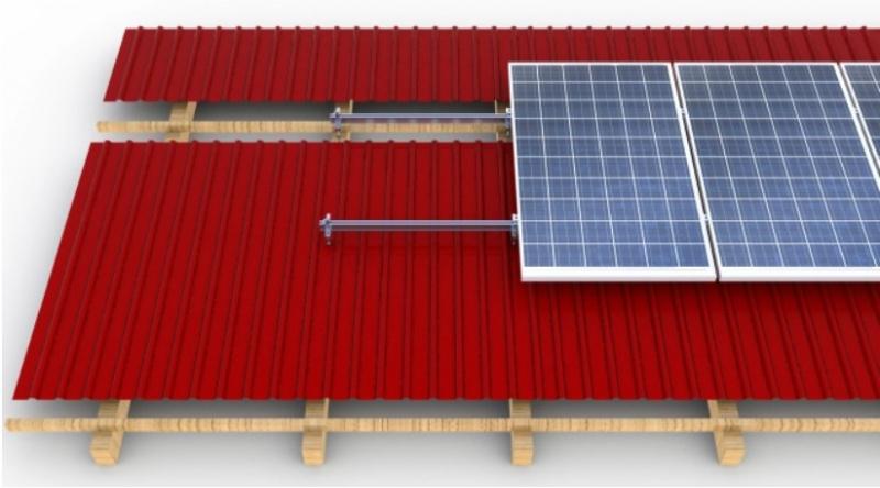 Montavimo sistema ant šlaitinio skardinio stogo CORAB (5kW-10kW)